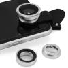 LIVA ชุดเลนส์เสริมกล้องมือถือ ซัมซุง ไอโฟน HTC รุ่น BE PRO - เลนส์ฟิชอายส์ เลนส์ไวลด์ เลนส์มาโคร พร้อมฝาปิดเลนส์ และ ถุงผ้ากำมะหยี่สีดำ (สีเงิน)