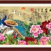นกยูงคู่ในสวนดอกโบตั๋น
