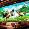 อุปกรณ์งานฝีมือ DIY ครอสติสคริสตัลรูปม้าแปดตัวในทุ่งหญ้าเขียวขจี
