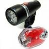 ชุดไฟจักรยาน หน้า+ท้าย POWER BEAM (สีดำ) LED 5 หลอด ไฟหน้าแอลอีดี ครบเซ็ต ALL IN ONE ไฟหน้าจักรยาน ไฟท้ายจักรยาน