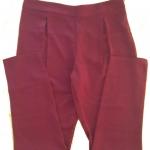 กางเกงขาเดฟเอวสูงจีบทวิตหน้า ผ้าฮานาโกะ สีเลือดหมู Size S M L XL สำเนา