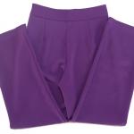 กางเกงขายาวผ้าฮานาโกะ ขากระบอกเอวสูง สีม่วงเข้ม Size S M L XL