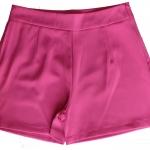 กางเกงขาสั้นเอวสูงผ้าฮานาโกะ สีบานเย็นเข้ม กระเป๋าขวา ซิปซ้าย Size S M L XL
