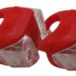 ไฟเซฟตี้ ไฟกะพริบติดจักรยาน แบบแอลอีดีx2 หุ้มซิลิโคนแดง - แสงไฟสีแดง (แพกคู่)