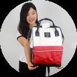 กระเป๋าเป้ anello lotte พร้อมส่ง ไซส์ Classic สีไตร Tri color (โทน 3 สี) รุ่น upgrade มีซิปด้านหลัง