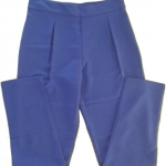 กางเกงขาเดฟเอวสูงจีบทวิตหน้า ผ้าฮานาโกะ สีน้ำเงิน Size S M L XL