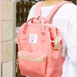 กระเป๋าเป้ anello lotte พร้อมส่ง ไซส์ Mini สีพาสเทล Coral Pink สีโอรส