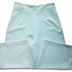 กางเกงขาบาน5ส่วน ผ้าฮานาโกะ ซิปซ้าย ไม่มีกระเป๋า สีขาว Size S M L XL