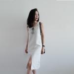 Linen V Neck Sleeveless Midi Dress