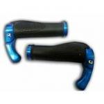 V-Grip ปลอกแฮนด์ยางกันลื่น พร้อมบาร์เอนในตัว ขอบอลูมิเนียม (สีน้ำเงิน Blue) -Anti Slip & Soft Bar Ends