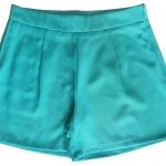 กางเกงขาสั้นเอวสูงผ้าฮานาโกะ สีเขียวน้ำทะเล กระเป๋าขวา ซิปซ้าย Size S M L XL