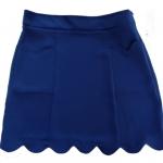 กระโปรงปลายหยักมีเป๋า ผ้าฮานาโกะ สีน้ำเงิน Size S M L XL