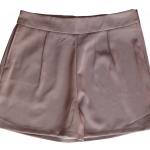 กางเกงขาสั้นเอวสูงผ้าฮานาโกะ สีน้ำตาลเข้ม กระเป๋าขวา ซิปซ้าย Size S M L XL