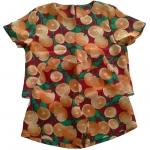 กางเกงขาสั้นและเสื้อผ้ามิลินพิมพ์ลายส้ม กระเป๋าขวา ซิปซ้าย เอวยางยืดหลัง