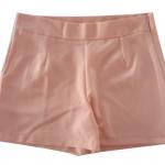 กางเกงขาสั้นเอวสูงผ้าฮานาโกะ สีโอรส กระเป๋าขวา ซิปซ้าย Size S M L XL