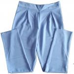 กางเกงขาเดฟเอวสูงจีบทวิตหน้า ผ้าฮานาโกะ สีฟ้า Size S M L XL