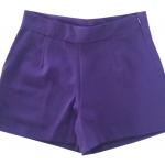 กางเกงขาสั้นเอวสูงผ้าฮานาโกะ สีม่วงเข้ม กระเป๋าขวา ซิปซ้าย Size S M L XL