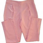 กางเกงขาเดฟเอวสูงจีบทวิตหน้า ผ้าฮานาโกะ สีชมพู Size S M L XL