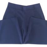 กางเกงขาบาน5ส่วน ผ้าฮานาโกะ ซิปซ้าย ไม่มีกระเป๋า สีกรมท่า Size S M L XL