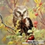 นกฮูกบนกิ่งไม้ thumbnail 1