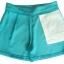 กางเกงขาสั้นเอวสูงผ้าฮานาโกะ สีเขียวน้ำทะเล กระเป๋าขวา ซิปซ้าย Size S M L XL thumbnail 2